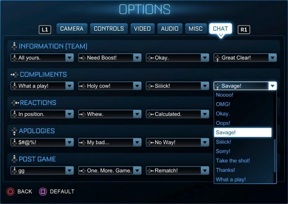 В Июньском обновлении Rocket League появятся новые команды для быстрого чата
